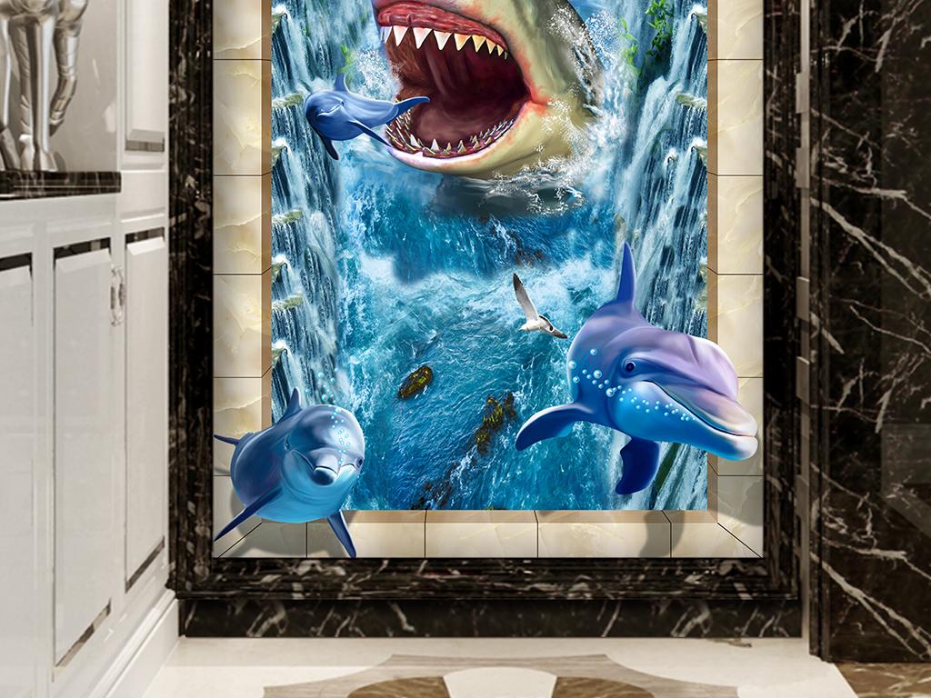 鲨鱼海豚瀑布3d立体玄关电视背景墙壁画