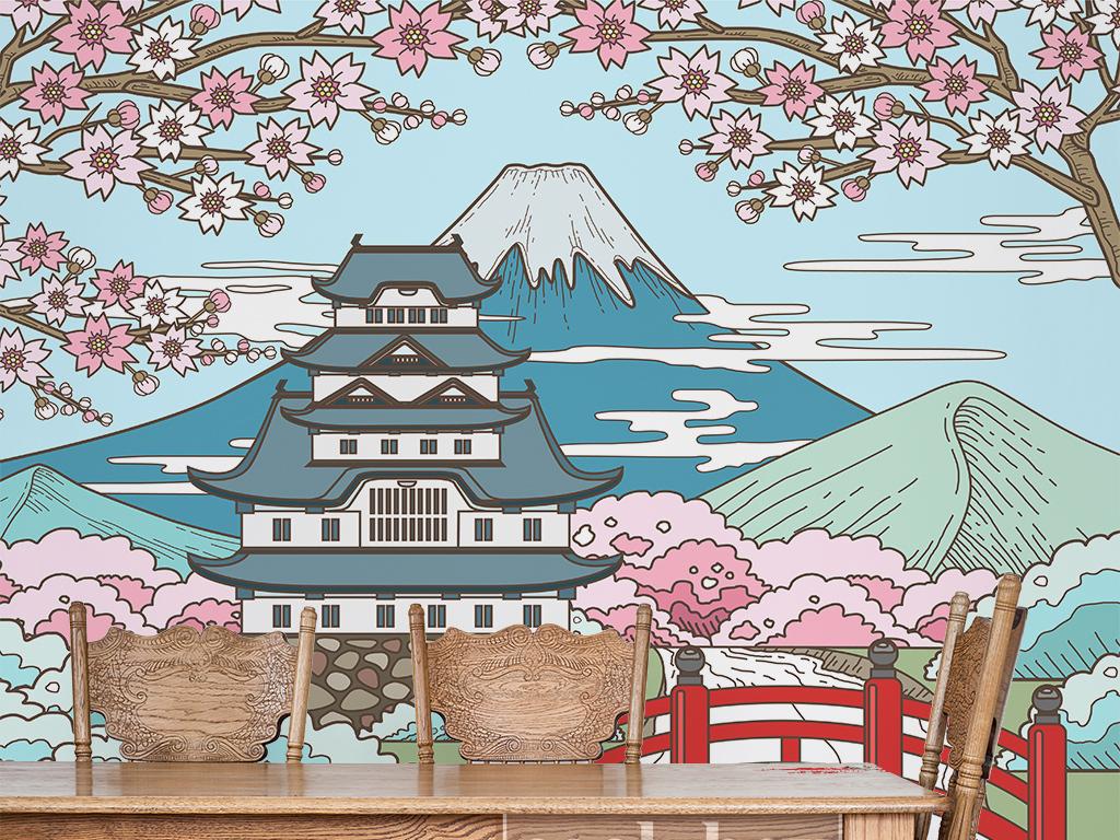 日本风和风手绘清新简约个性壁画书房工装和古典文化