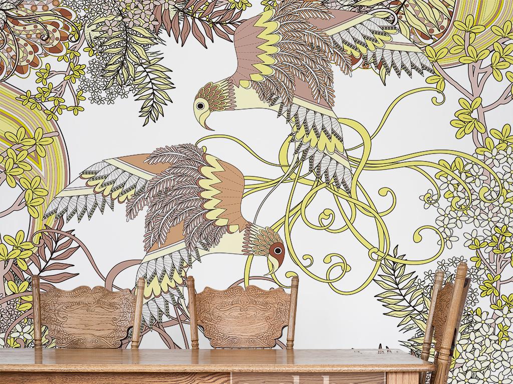 日本手绘风格复古时尚比翼鸟植物简约背景