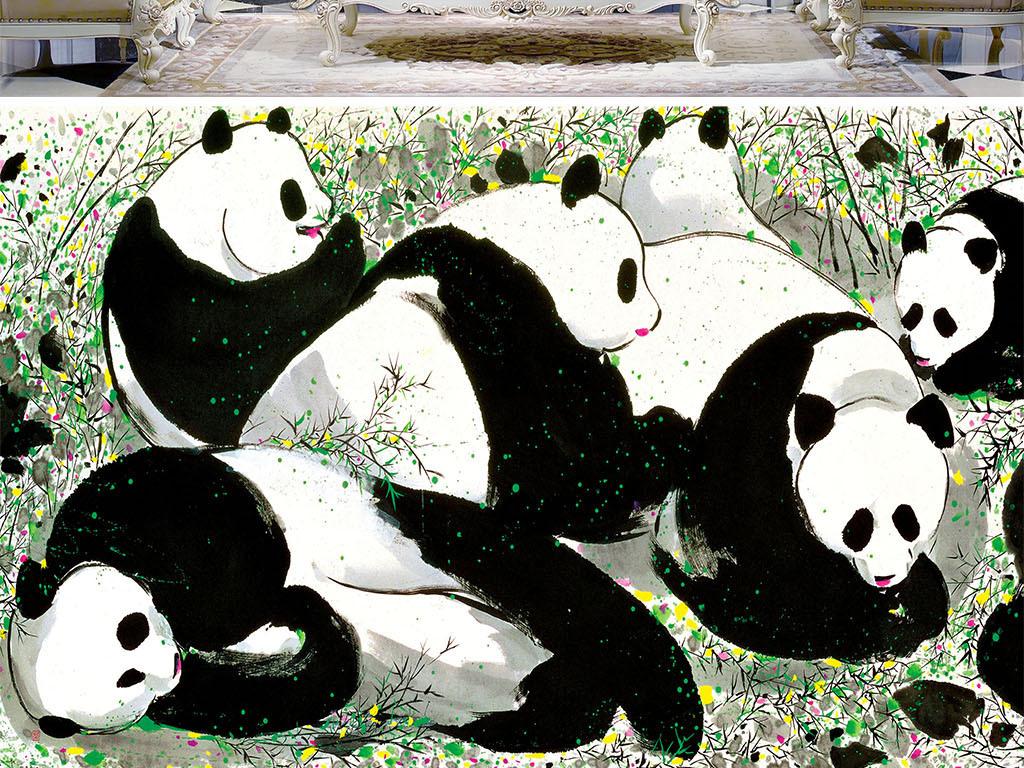 背景墙|装饰画 电视背景墙 电视背景墙 > 熊猫水墨国画可爱  版权图片图片