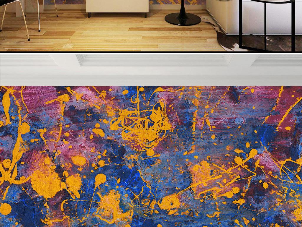 复古时尚油漆染料抽象油画背景墙效果图 15184804 油画 立体油画电视
