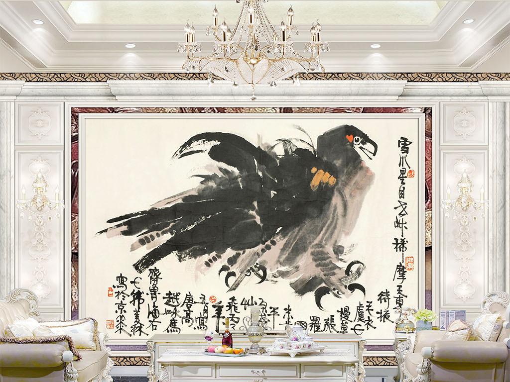 墙手绘风景壁画手绘油画高清油画巨幅老鹰图片老鹰的