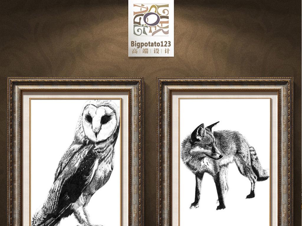 可爱卡通黑白艺术猫头鹰野狼特写动物油画