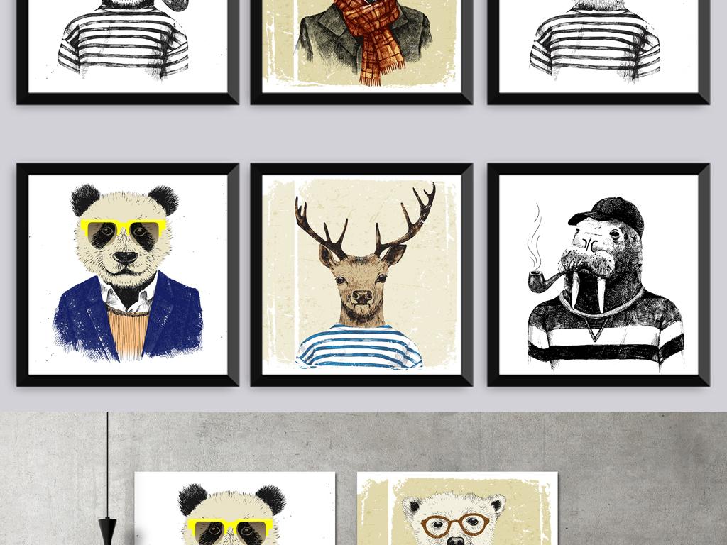 北欧简约手绘动物无框画