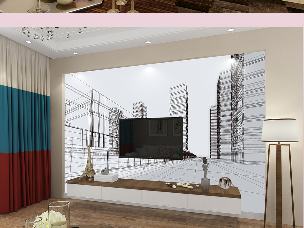 手绘素描城市街景背景墙图片