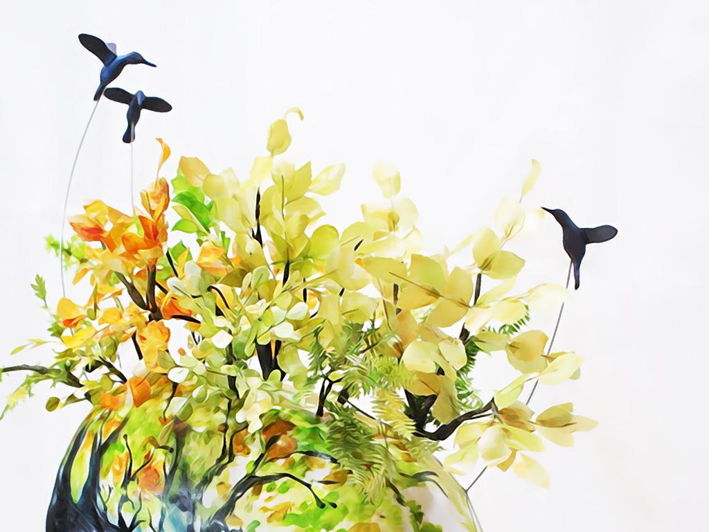 手绘抽象文艺水彩童话梦幻麋鹿森林玄关壁画