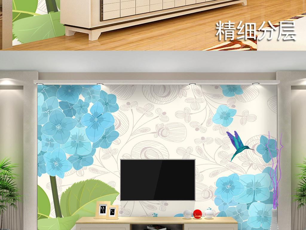 手绘花纹小清新现代简约电视背景墙079