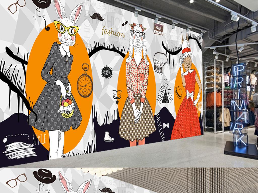 个性手绘抽象动物服装店咖啡厅背景装饰墙