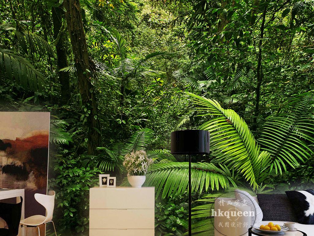 背景墙|装饰画 电视背景墙 手绘电视背景墙 > 绿色森林树林树叶芭蕉扇