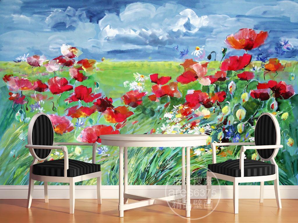 装饰画 电视背景墙 油画|立体油画电视背景墙 > 手绘油画罂粟花蓝天