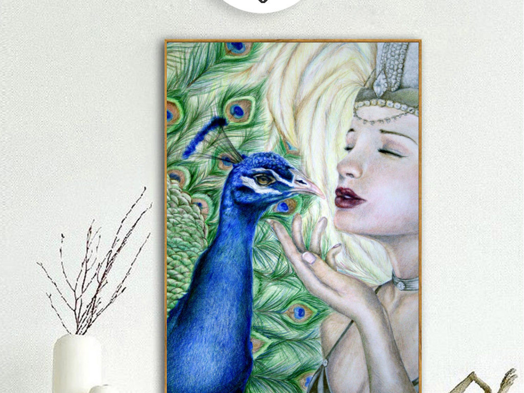 欧式创意手绘绿孔雀与美女无框画