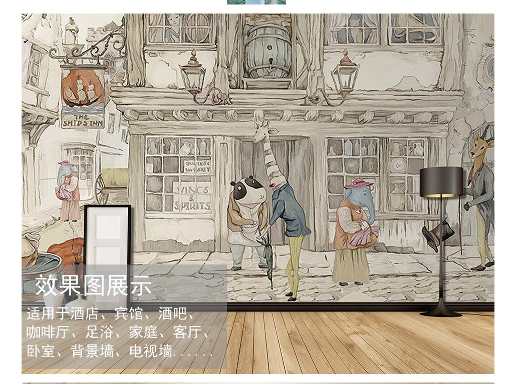 手绘卡通动物背景墙装饰画