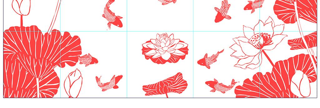 荷花爱莲说鲤鱼中式背景墙壁画瓷砖雕刻路径图片