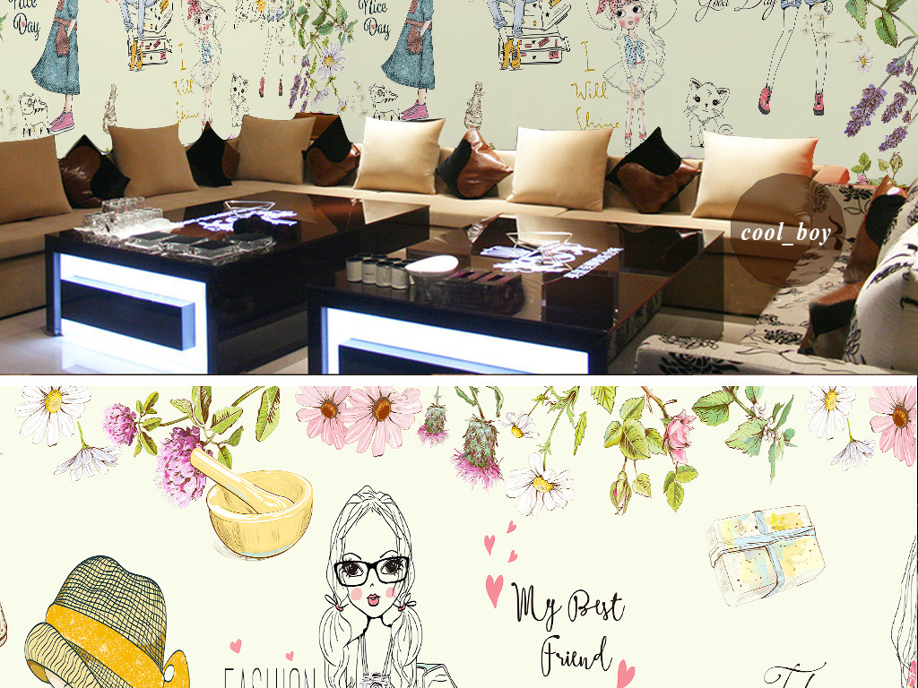 韩式手绘卡通女孩人物花朵壁画化妆品店背景