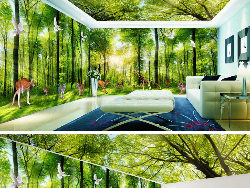 绿色森林草地树木客厅3d空间背景墙