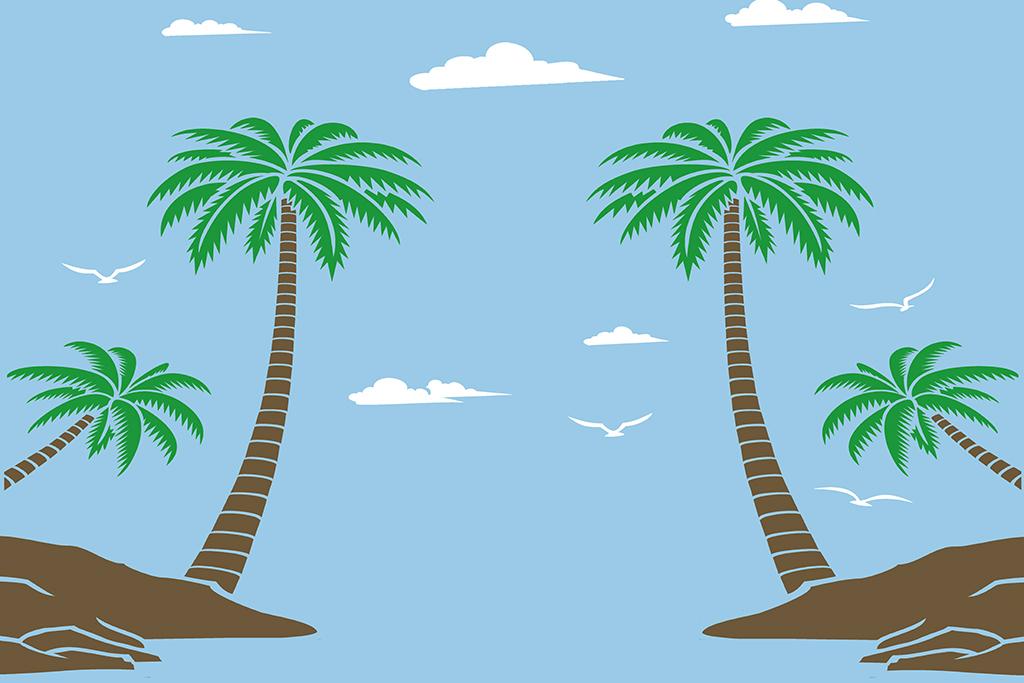 高清手绘椰子树电视背景墙