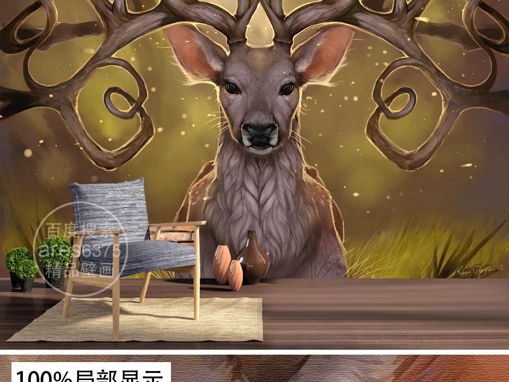 现代手绘个性麋鹿鹿头鹿角油画壁画背景墙装