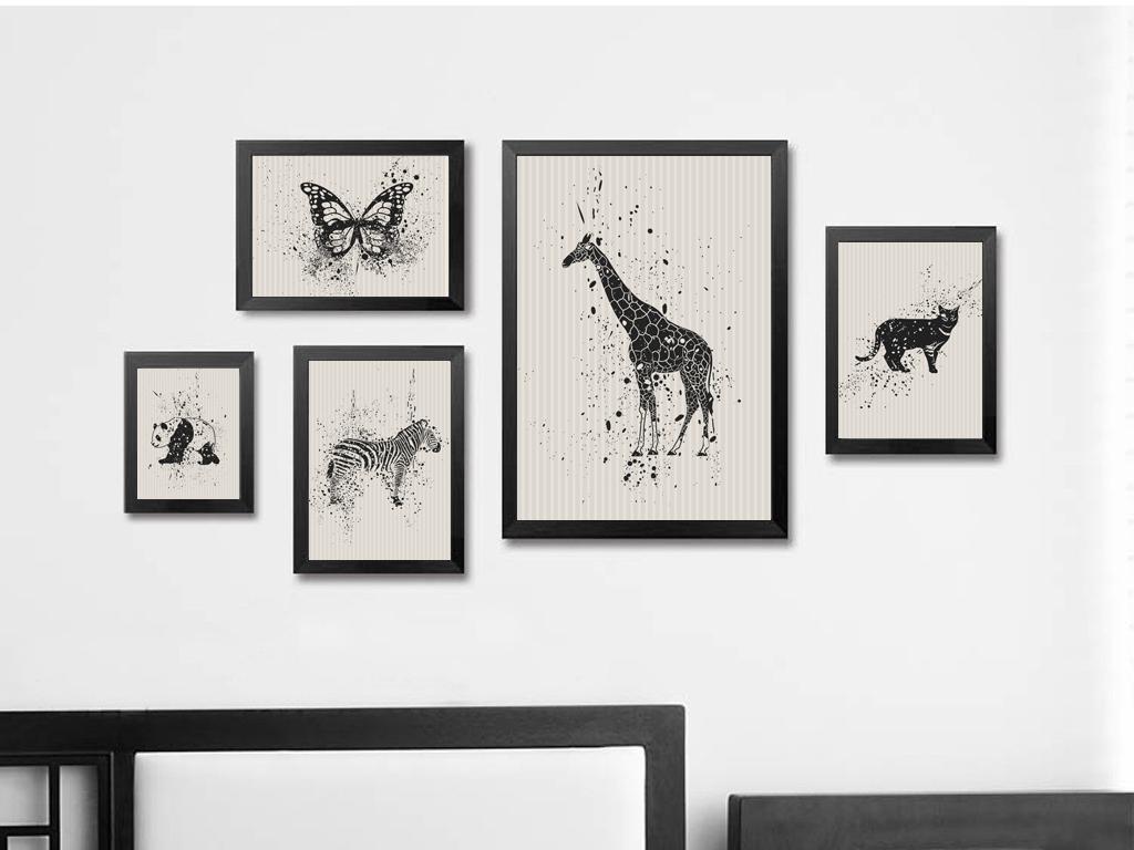 动物无框画黑白复古北欧简约