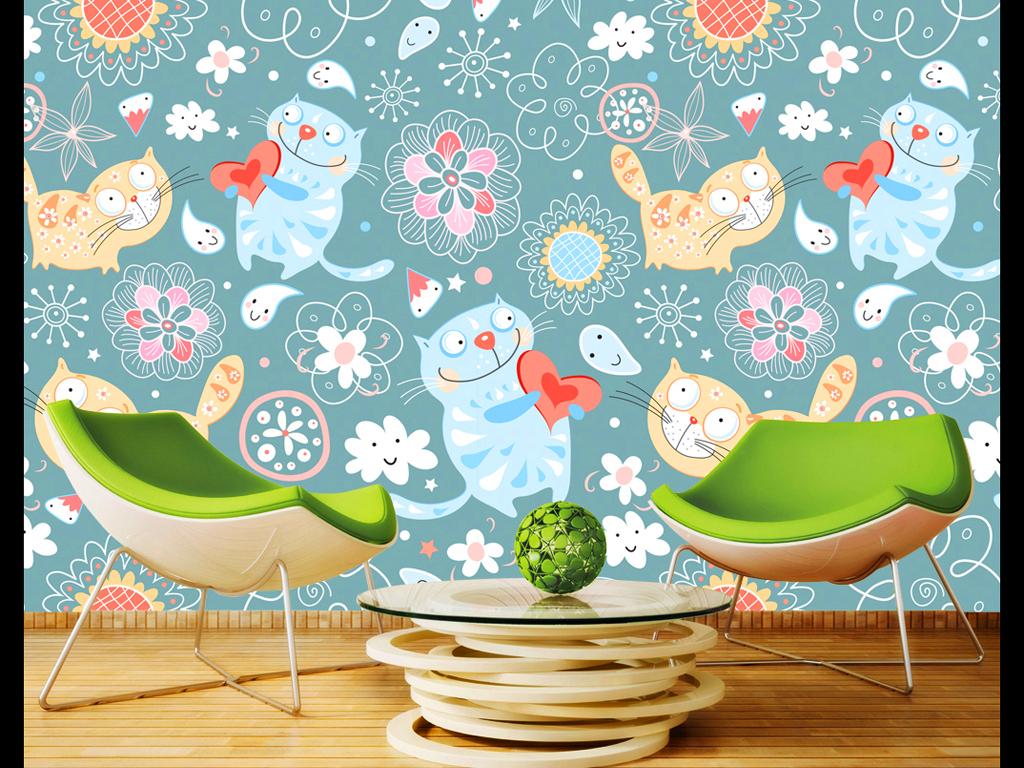 可爱猫咪手绘背景墙