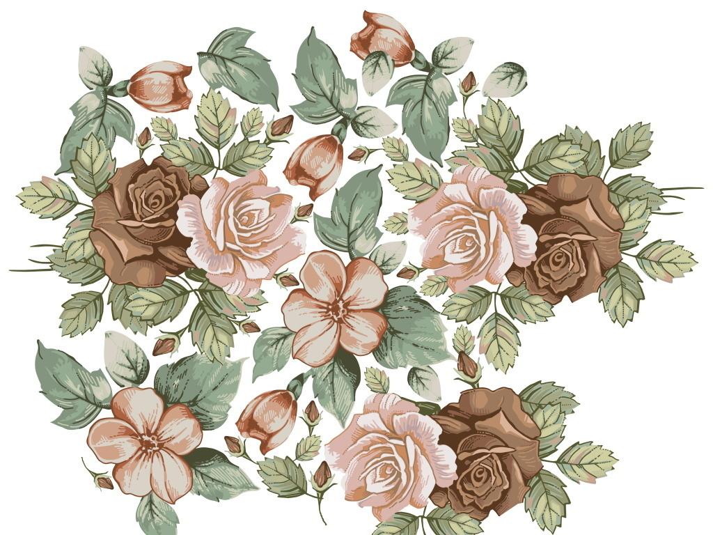 简约欧式复古时尚浪漫手绘玫瑰花广告背景图