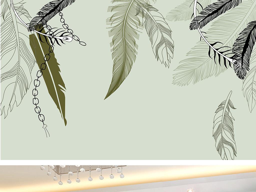 背景墙|装饰画 电视背景墙 手绘电视背景墙 > 手绘现代简约羽毛锁链