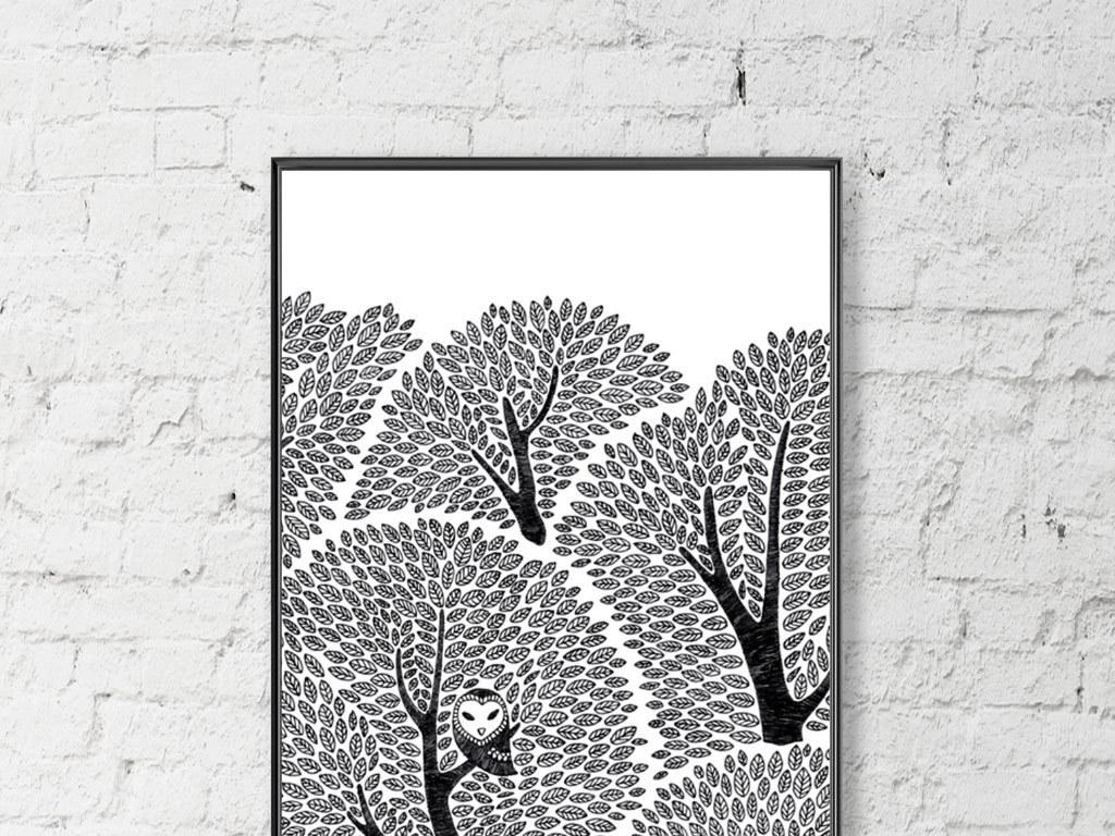 创意手绘黑白大树无框画