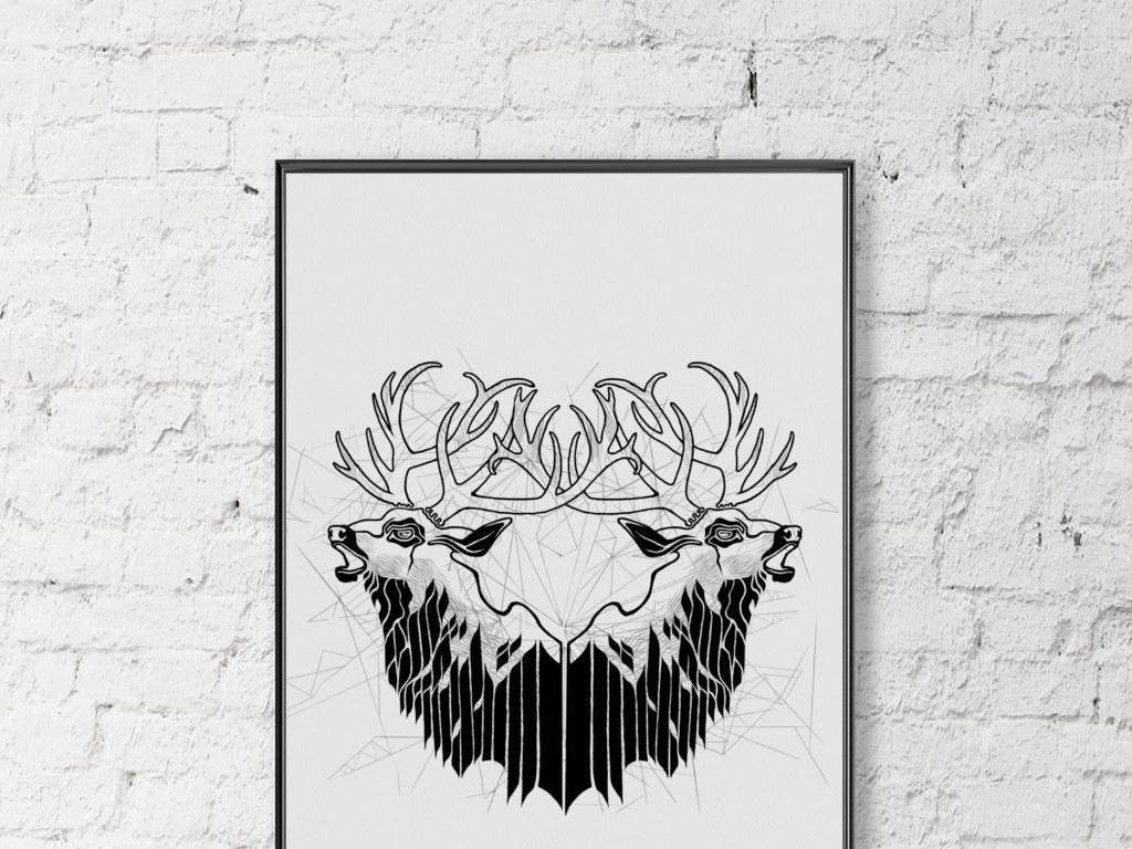 欧式创意手绘黑白麋鹿无框画
