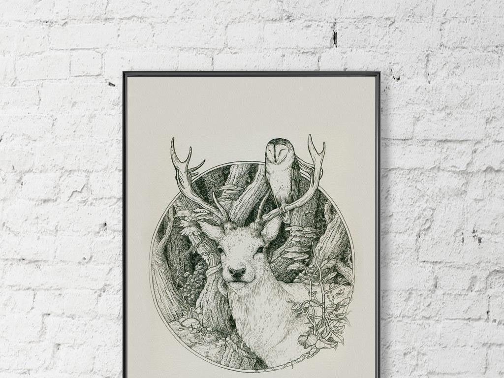 背景墙|装饰画 无框画 动物图案无框画 > 欧式创意手绘麋鹿小鸟无框画