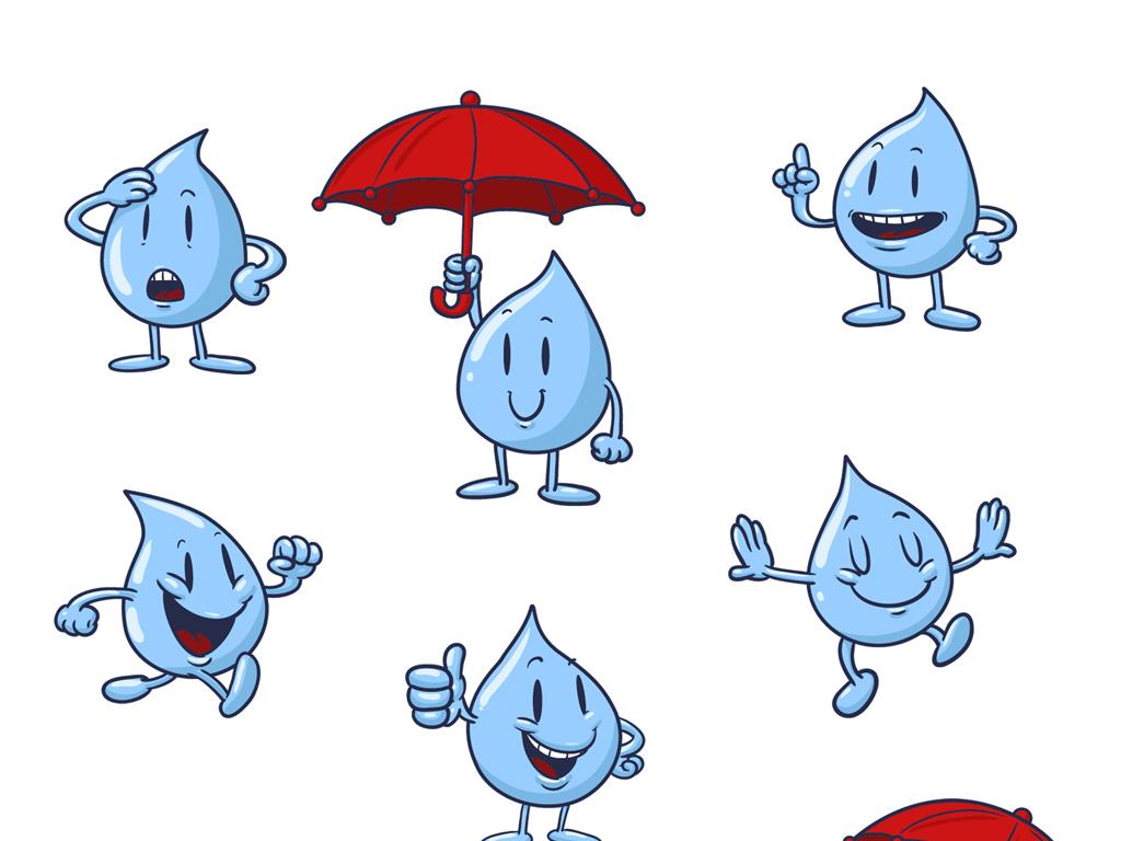小水滴卡通海报设计元素