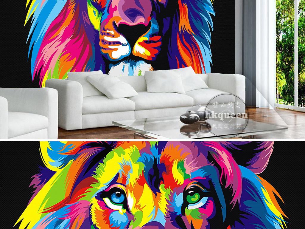 彩色手绘彩绘绘画狮子脸部特写ktv背景墙