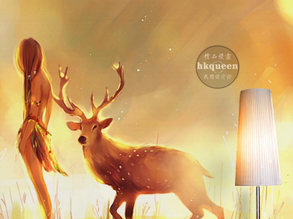梦幻唯美橙色手绘人物鹿美丽抽象背景墙
