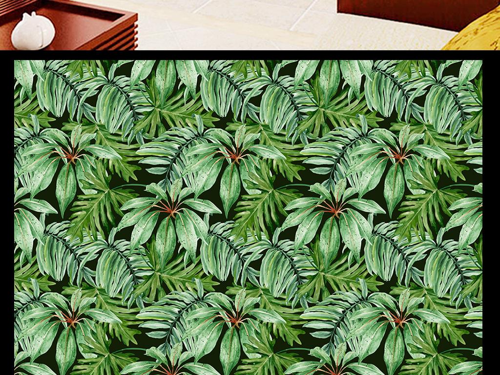 热带雨林植物绿色芭蕉叶背景墙