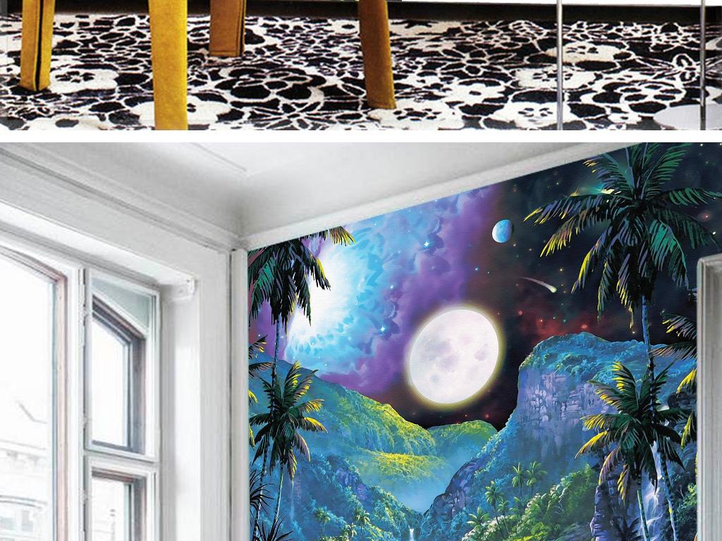 欧式手绘梦幻童话森林独角兽雨林月球海浪玄