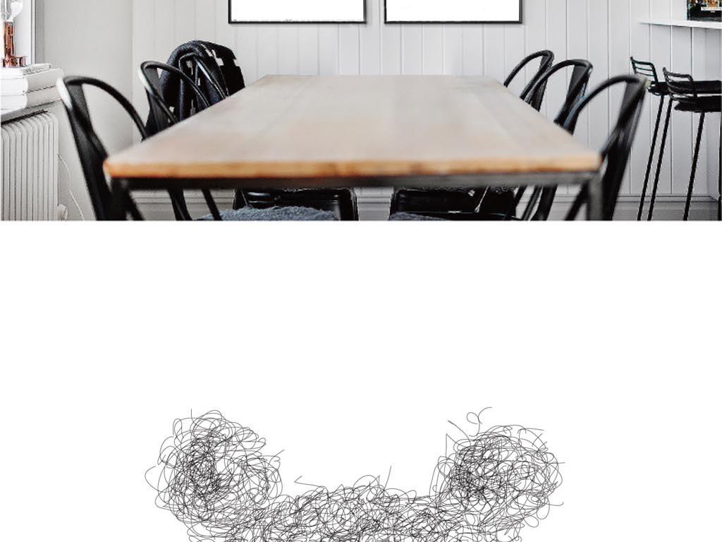 现代简约黑白手绘线描熊猫