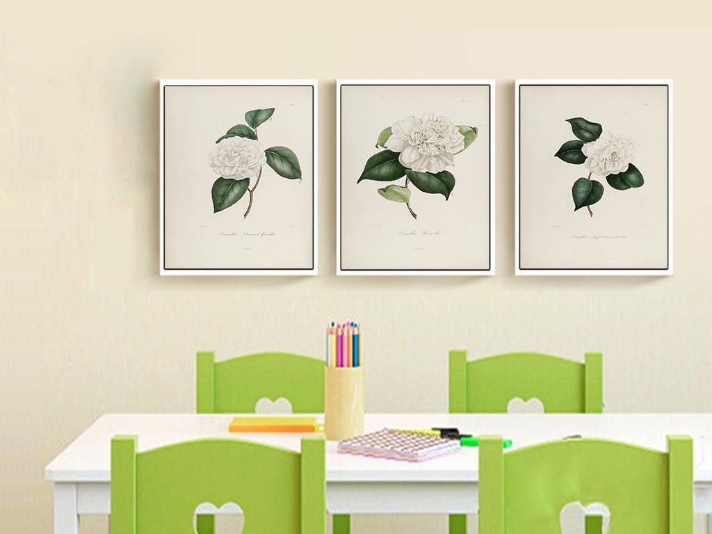 三联白色茶花花朵花卉有框无框装饰画图片