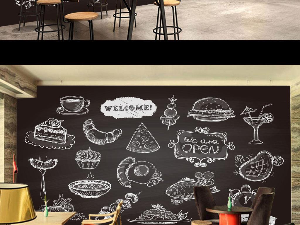 手绘线描食物