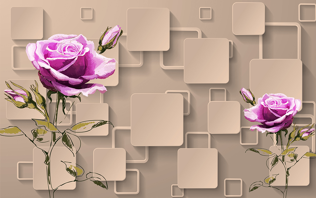 玫瑰花粉色玫瑰花手绘玫瑰花3d电视背景墙3d客厅背景墙3d壁画3d壁纸