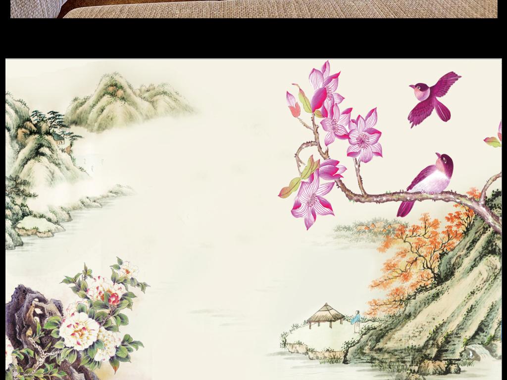 山水墨画牡丹-水墨山木棉花鸟牡丹花效果图 15208534 3D电视背景墙效果图