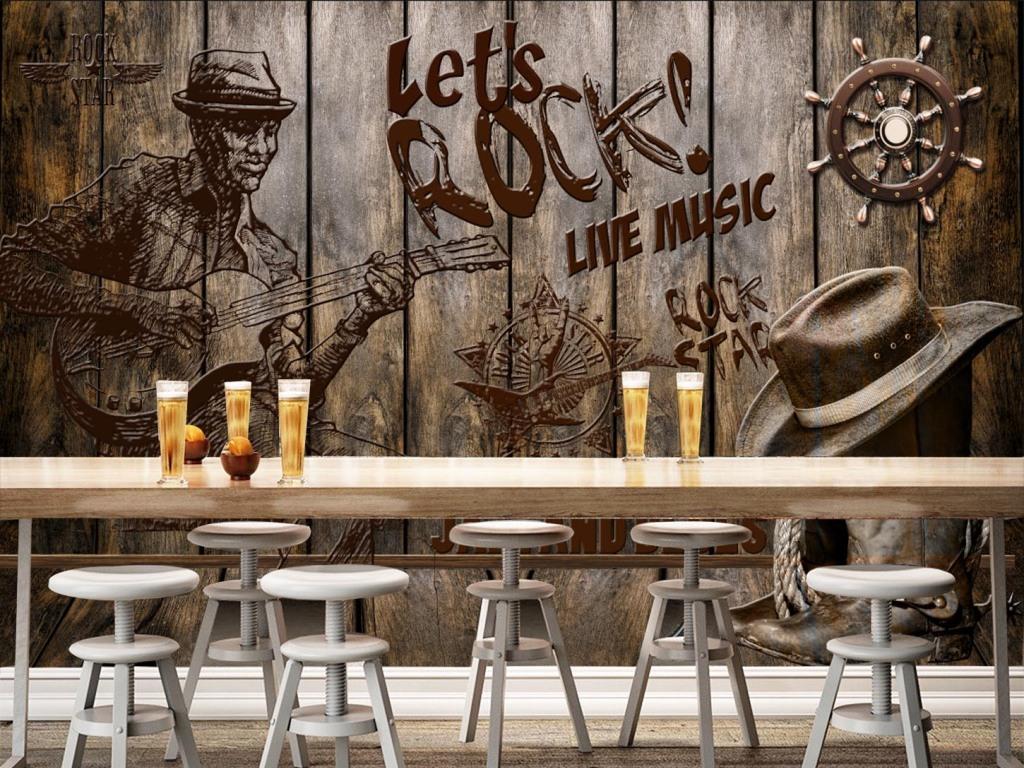 复古怀旧木板摇滚音乐背景装饰墙