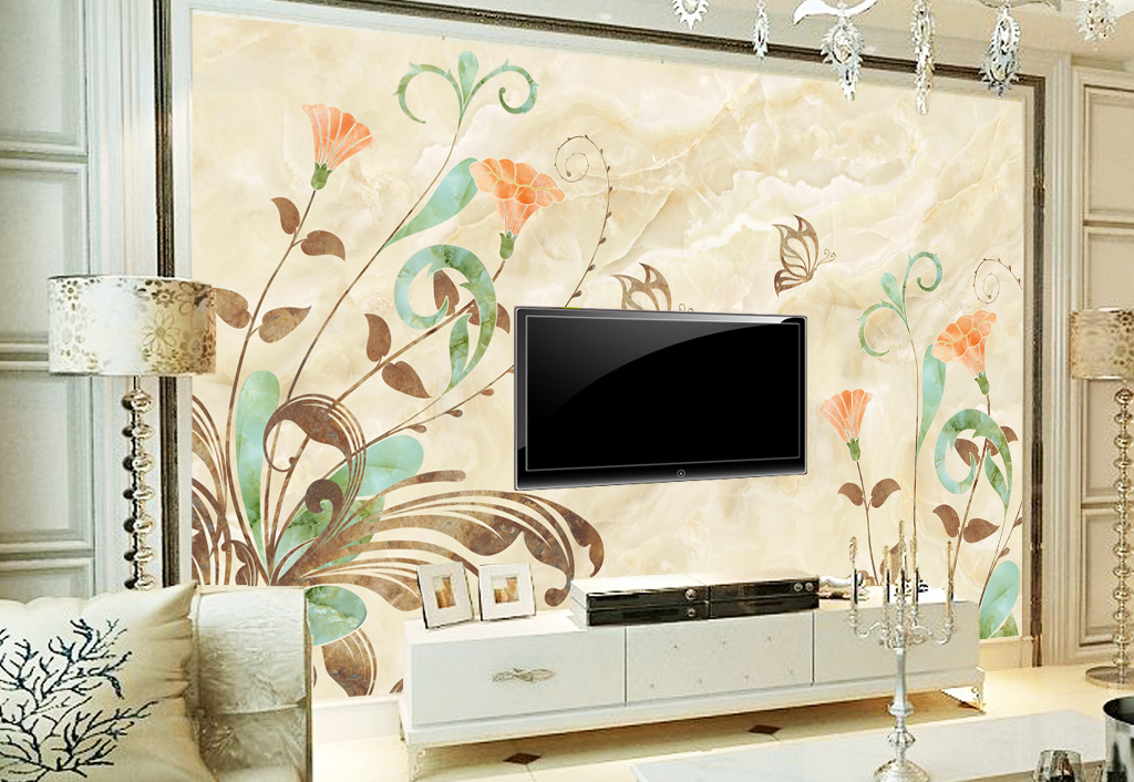 背景墙 电视背景墙 大理石背景墙 > 清新手绘花纹大理石纹理  素材