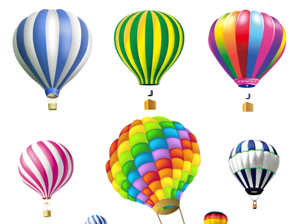彩色卡通热气球氢气球五彩斑斓广告背景图