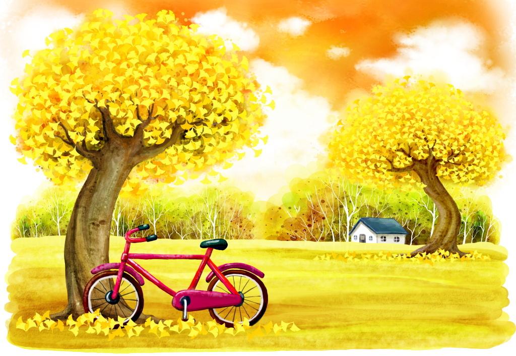 唯美插画手绘卡通秋天落叶房屋单车创意背景
