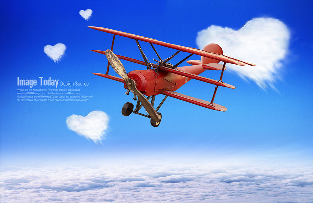 创意飞机天空psd分层素材
