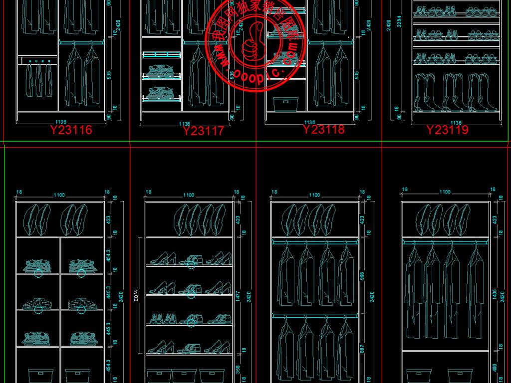 cad图库 室内设计cad图库 cad图纸 > 衣柜柜体内部结构cad设计模块