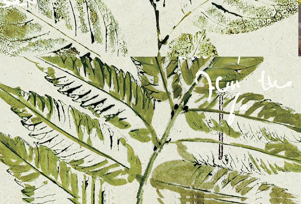 小清新绿色叶子树叶邮戳英文植物风景油画