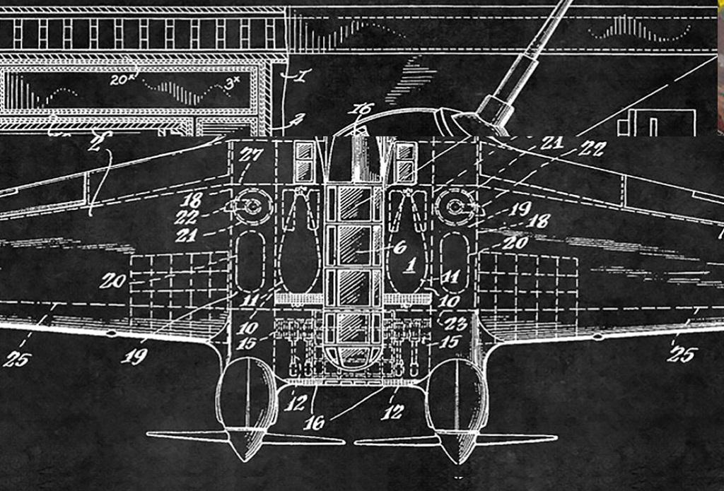 黑底白色线条勾勒吉他飞机汽车解剖图黑板画