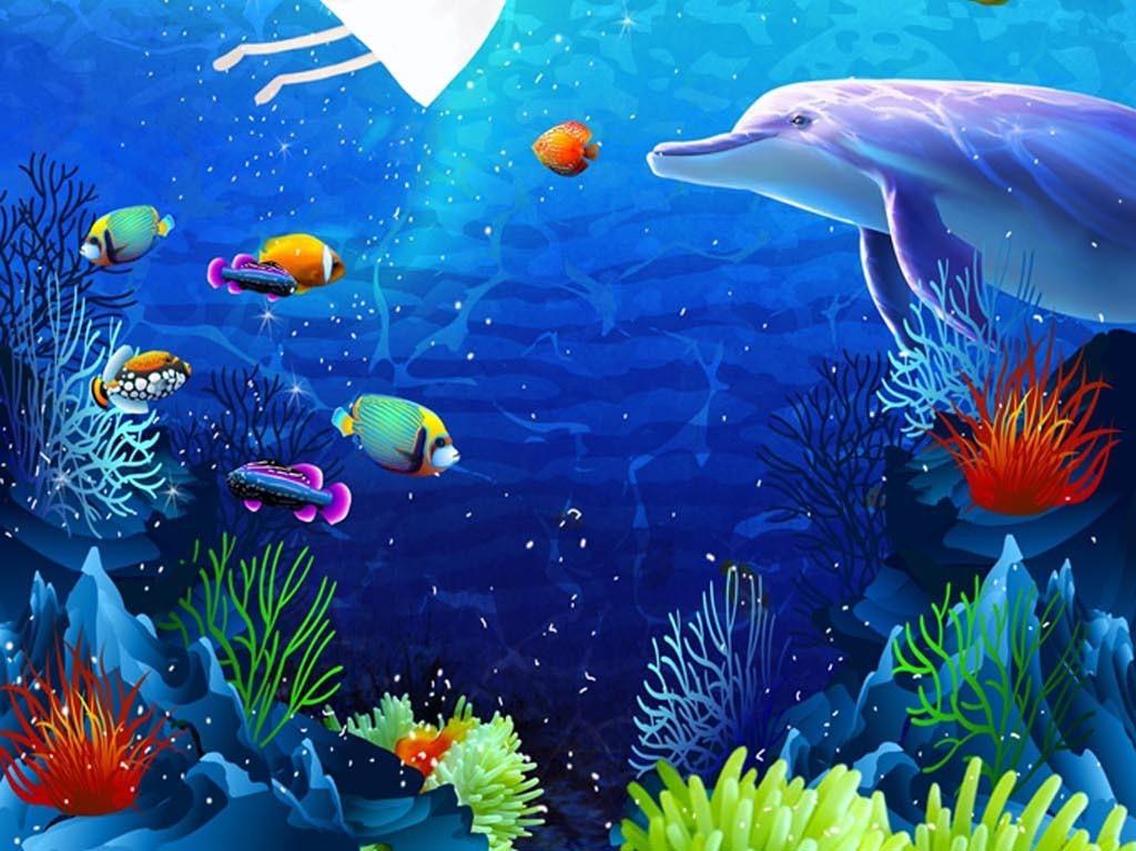 海底世界吊顶玄关地板背景墙