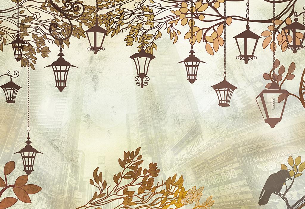 手绘树叶叶子吊灯路灯电灯秋天树叶小鸟花卉高楼大厦墨迹抽象卡通灯