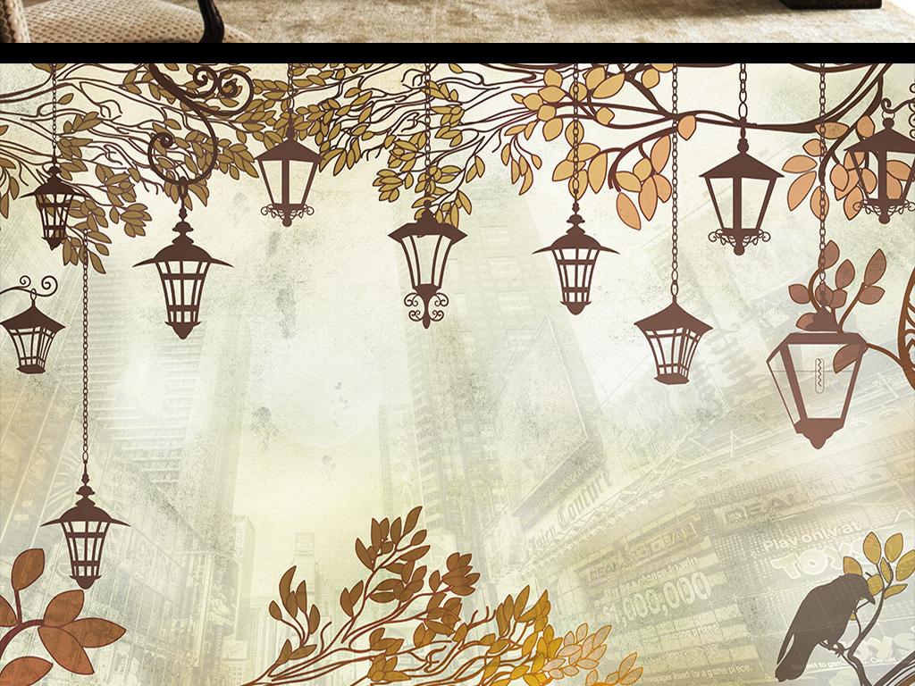 手绘树叶灯电视背景墙