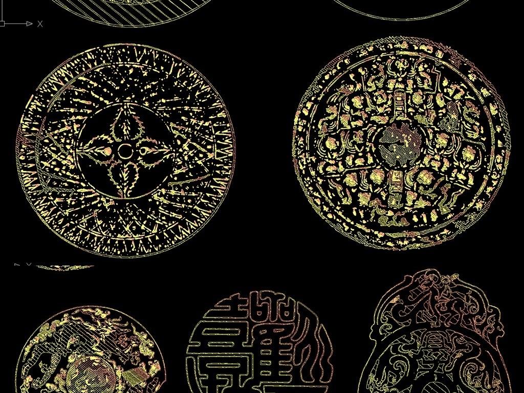 中国传统圆形花纹和人物图案金色cad雕花图库